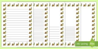 Malwod Pecyn Taflenni gyda Borderi - Malwod, malwoden, taflennu gyda borderi, snail page borders, snails, snail,Welsh