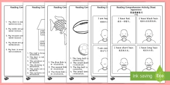 Reading Comprehension Activity Sheets English/Mandarin Chinese - Reading Comprehension Worksheets - reading comprehension, comprehension worksheets, reading comprehe