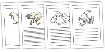 Farmer Duck Writing Frames - farmer duck, writing frames, lined pages, frames for writing, themed writing frames, writing template, colour and write