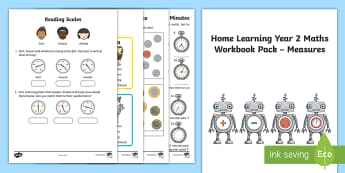 Learning from home Maths Workbook Year 2 Measures Activity Booklet - Learning from Home Maths Workbooks, days, weeks, hours, pounds pence, first measuring