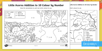 Little Acorns Addition to 10 Colour by Number - twinkl originals, fiction, colour by number, addition to 10, KS1, EYFS, maths