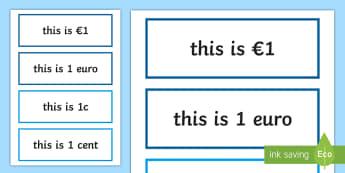 Money Units of Measurement Display Labels - measures, maths, units of measurement, labels, display, money,Irish