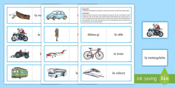 Transport Card Game French - French Games, french vehicles, french transport, french modes of transport, french card games, self-