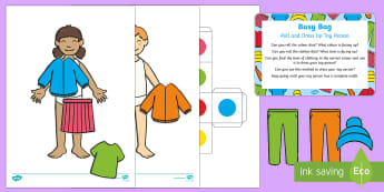Roll and Dress Up Toy Person  Busy Bag Prompt Card and Resource Pack - clothing, toys, lego, brick people, mini figures