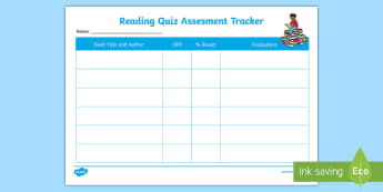 Individual Reading Quiz Assessment Tracker - AR, ZPD, Accelerated Reader, Accelerated reading, AR Tracker, AR pupil evaluations, Reading Evaluati