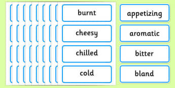 Food Adjectives Word Cards - food, adjectives, word cards, cards