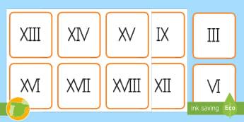 Tarjetas de emparejar: Los números romanos  - numeración romana, parejas, juego, equivalencias, matemáticas,Spanish