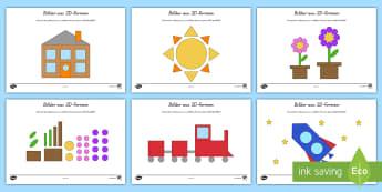 Bilder aus 2D-Formen Arbeitsblätter - Mathe, Geometrie, Rechteck, Dreieck, räumliches Denken, ,German