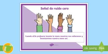 Póster DIN A4: ruido cero - comportamiento de clase - clase cooperativa, trabajo cooperativo, Sin ruido, señal de silencio, código, comportamiento,Spani