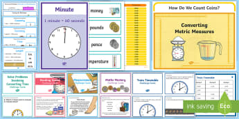 LKS2 Measurement Working Wall Display Pack - classroom display, maths display, length, weight, mass, time, area, perimeter, problem solving, conv