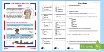 KS1 General Election Differentiated Reading Comprehension Activity - Reading, comprehension, Explain clearly their understanding of what is read to them, Understand what