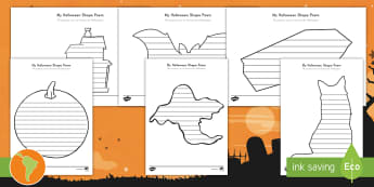 Halloween Shape Poetry Templates US English/South American Spanish - poem, worksheet, halloween poems, writing templates, activity sheet, spanish, eal