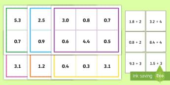 Dividing Decimal Numbers Bingo - ACMNA129, Divide Decimal Numbers, Decimal Numbers, Decimal Number Division, Divide Decimals By Whole
