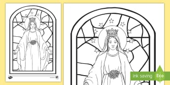 Mary Stained Glass Senior Colouring Page - Mary, May, Our Lady, Mother, religion, ,may altar, stained glass, catholic, christianity ,Irish