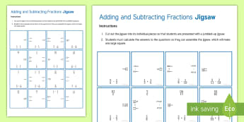 Adding and Subtracting Fractions Jigsaw Activity Sheet - Addition, Add, Subtraction, Subtract, Numerator, Denominator, Different Equivalent, Equivalence, Com
