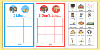 'I like' and 'I don't like' Sorting Activity - ESL All About Me Resources