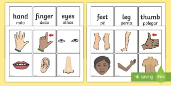 Parts Of The Body Word and Picture Matching Cards English/Portuguese - Parts Of The  Body Word and Picture Matching Cards - parts of the body word and picture matching car