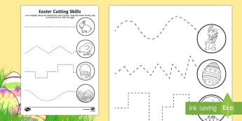 Easter Cutting Skills Activity Sheet - NI  Literacy, Jesus, writing, Easter, Fine motor skills, Fine motor, Cutting, Lent, Easter Sunday, G