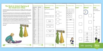 LKS2 The Back to School Mystery of the Cloakroom Chaos Maths Game - year 3 and year 4, problem solving, calculations, greater than and less than, place value