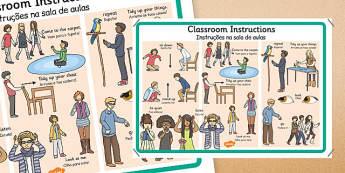 Instruções na sala de aulas Portuguese Translation - portuguese, classroom, instructions, display, posters