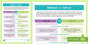 Meltdown vs Tantrum Information Sheet - autism, meltdown, tantrum, behaviour management, sensory overload