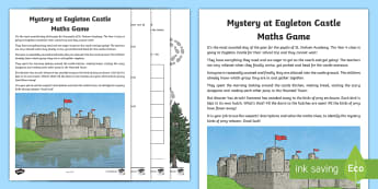 LKS2 Mystery at Eagleton Castle Maths Game - calculations, problem solving, directions, 3D shapes, parallel lines