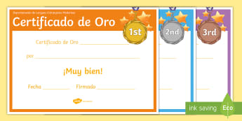 Gold, Bronze and Silver Certificates Spanish - diploma, certificate, award, end, year, prize, MFL, department