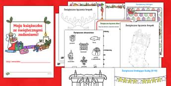 Książeczka ze świątecznymi zadaniami - święta, świąteczna, święta, boże narodzenie, bożego narodzenia, gwiazdka, gwiazdor, choinka,