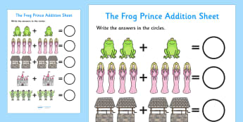 The Frog Prince Addition Sheet - the frog prince, addition sheet, addition, the frog prince addition, addition worksheet, the frog prince worksheet, maths