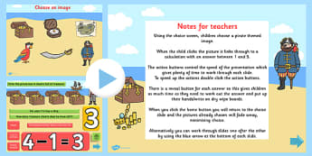 EYFS Pirate Themed Subtraction PowerPoint - subtract, minus, math