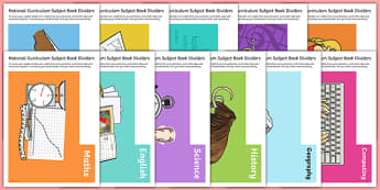 Curriculum Subject Book Divider Display Cut Outs