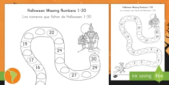 Halloween Spooky House Missing Numbers to 30 Activity Sheet US English/South American Spanish - october, festival, autumn, celebration, ghosts, witch, worksheet, español, spanish, eal