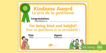 Kindness Award Certificate English/French - award certificates, reward, award, certificate, rewards, school reward,  EAL French,French-translati