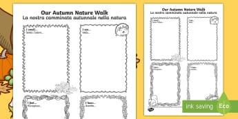 Our Autumn Nature Walk Writing Frame Italian/English  - autumn, nature, walk, autmn, autunm, atumn, aurum, aurumn, autmn, writting, EAL