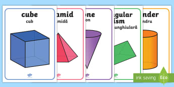 3D Shape Display Posters English/Romanian - recognition, ,geometry, EAL, Shape poster, flashcards,