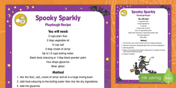 Spooky Sparkly Playdough Recipe