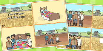 The Farmer and His Sons Story Sequencing Cards - aesops fables