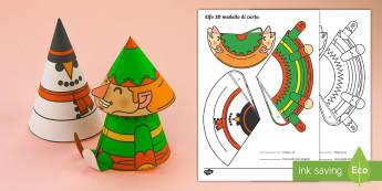 Elfo di Natale modello 3D Attività - natale, natalizio, decorazione, materiale, scolastico, carta, italiano, italian