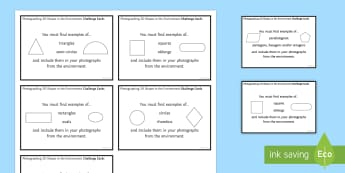Photographing 2D Shapes in the Environment Challenge Cards - 2D shapes, challenge cards, task cards, photographs, environment, iPad, camera,Irish