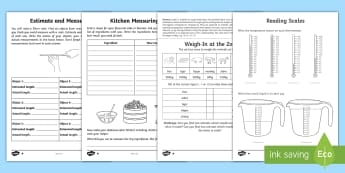 Year 2 Maths Homework Measure Activity Pack - KS1 Maths Homework Packs, measure, units of measure, measurement, capacity, length, volume, weight