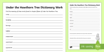 Chapter Fifteen Dictionary Work Activity Sheet to Support Teaching on Under the Hawthorn Tree-Irish - stories, novel, comprehension, reading, English, vocabulary, Irish famine, famine, worksheet
