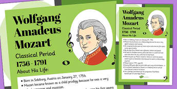 Wolfgang Amadeus Mozart Display Poster - mozart, display, poster