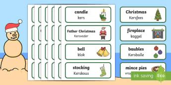 Christmas Topic Word Cards English/Afrikaans - December, celebration, santa, presents, Desember, Kersvader, EAL