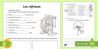 Los refranes fácil Ficha de actividad - Refranes, proverbios, dichos, frases, hechas, populares,Spanish