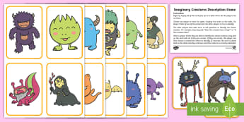 Imaginary Creatures Description Game - EYFS, Early Years, KS1, Key Stage 1, speaking and listening, communication and language, monster.