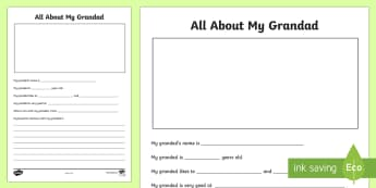 All About My Grandad Activity Sheet - Grandparent's Day Pack, grandparents, grandpa, grandad, family, granddad, relatives ,Irish, workshe
