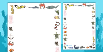 Under the Sea Page Borders (Full Border) - Under the Sea, sea, page border, border, writing template, writing aid, writing, seaside, water, tide, fish, sea creatures, shark, whale, marine, dolphin, starfish, waves, sand
