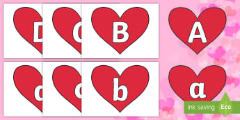 A to Z Alphabet on Hearts (Plain) Cut-Outs - EYLF, Valentines Day, Alphabet display, romance, romantics, heart, love, kindness,Australia, letters