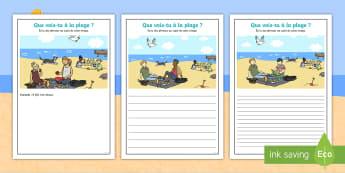Supports imagés pour la production d'écrits : Un pique-nique à la plage - Écriture, français, cycle 2, cycle 3, été, vacances, Manger, picnic