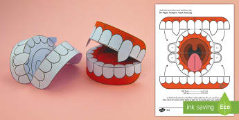 Simple 3D Halloween Vampire Teeth Activity Paper Craft Arabic/English - halloween, teeth, vampire, EAL, Arabic.,Arabic-translation
